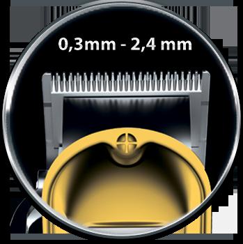 Регулируемая высота среза ножевого блока от 0,3 мм до 2,4 мм.